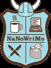 Logo: Shield with helmet, pens, paper, computer and coffee mug.