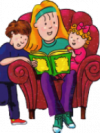 teen reading to children