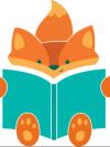 Cartoon Fox reading book